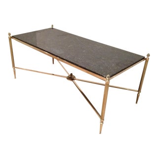 Maison Jansen Brass Coffee Table With Black Marble Top, Cross Stretcher & Acorn Finials For Sale