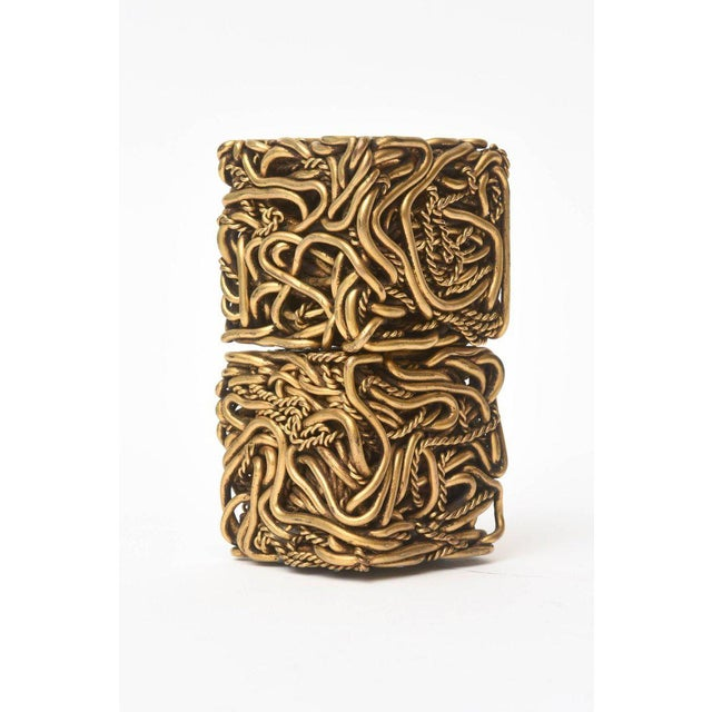 Pair of Signed Yasca Bronze Twisted Square Cube Sculptures For Sale - Image 4 of 11