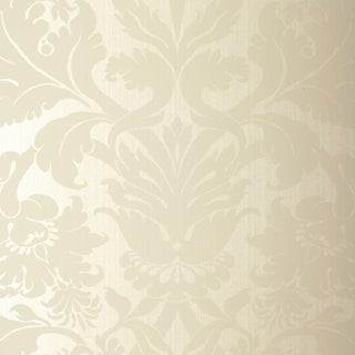 Schumacher Fiorella Damask Wallpaper in Pearl For Sale