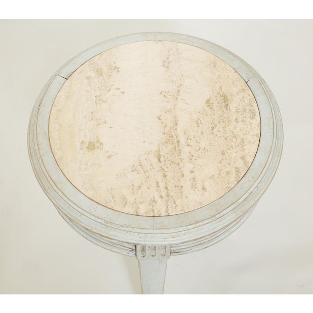 Traditional Accent Table With Travertine Insert For Sale - Image 3 of 8