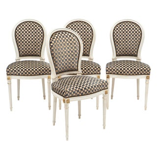 Louis XVI Style Medallion Back Chairs - Set of 4 For Sale