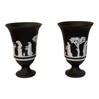 Vintage English Black Wedgwood Jasperware Urns - a Pair For Sale