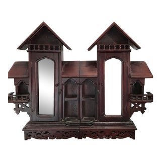1930s Vintage Wood Castle Wall Mount Cabinet For Sale