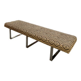 Modern Kravet Missoni Style Flame-Stitch and Chrome Bench For Sale
