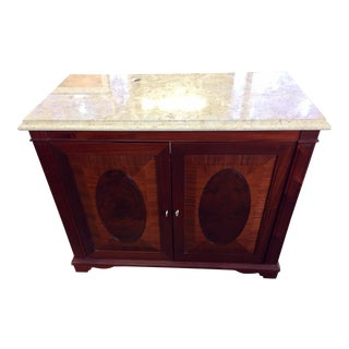 Rosewood Burl & Marble Dry Bar/Media Cab/Dresser For Sale