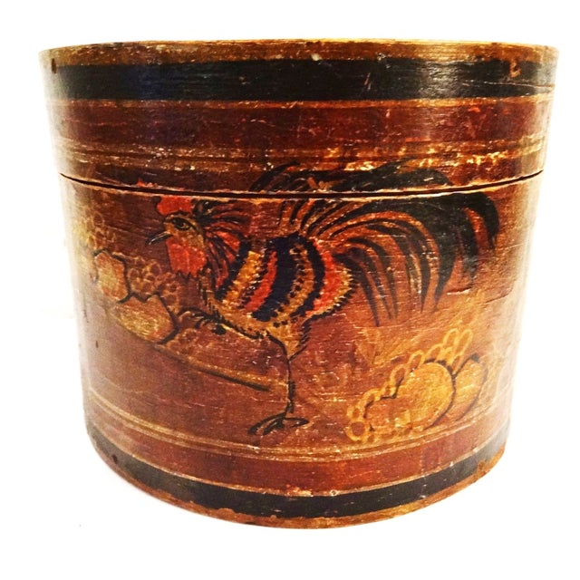 Old Chinese Hand Painted Round Box With Rooster For Sale - Image 5 of 5