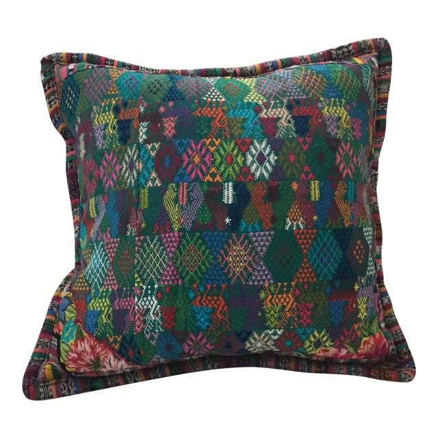 Original Guatemalan Textile Cushion Case in Teal For Sale
