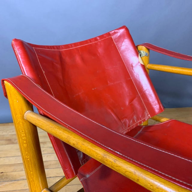 Wood Red Leather and Birch Safari Chair, 1980s For Sale - Image 7 of 9