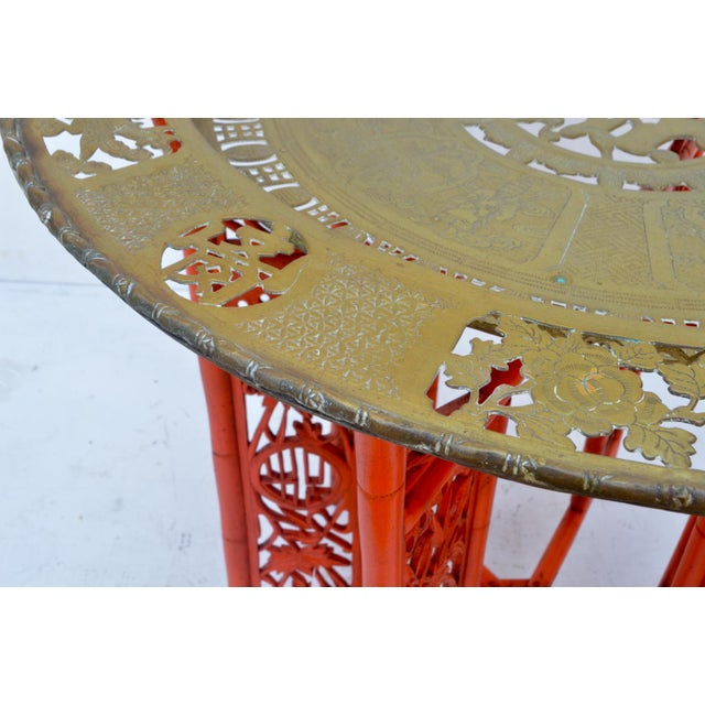 Chinese Brass Tray on Orange Stand - Image 8 of 8