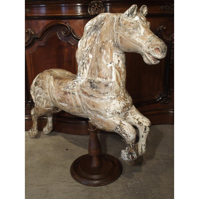 White Antique Whitewashed Carousel Horse From Spain, Circa 1915 For Sale - Image 8 of 13