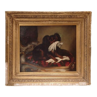 19th C. Russian Toy Dog Portrait Painting For Sale