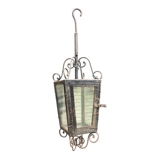 19th Century Rustic Hand Forged Wrought Iron Outdoor Candle Lantern For Sale