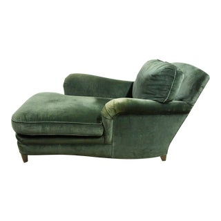Donghia Green Velvet Chaise Lounge For Sale
