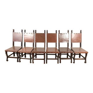 Spanish Heritage Style Wood & Leather Chairs - Set of 6