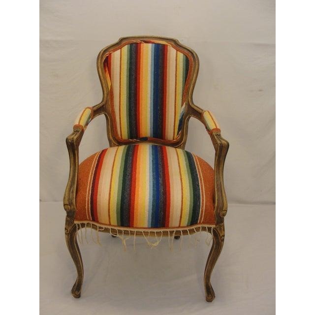 Bergere Chair Custom Upholstered in Serape - Image 3 of 8