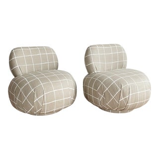 1980s Vladimir Kagan Style Coquette Fabric Swivel Chairs - a Pair For Sale