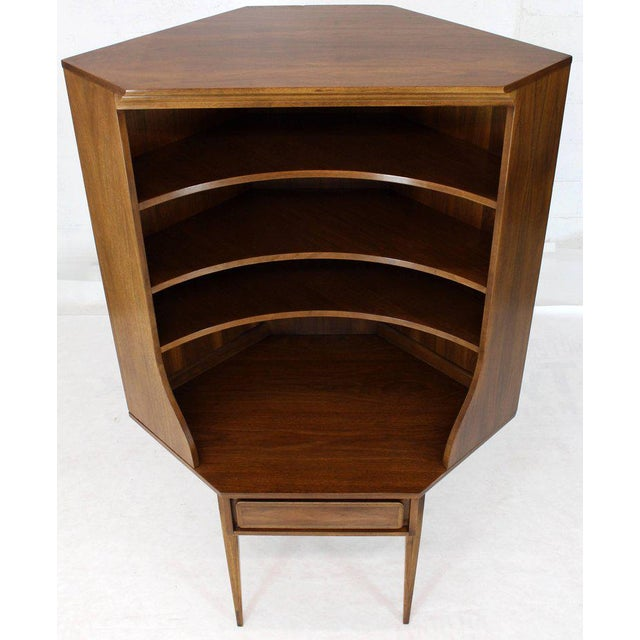 Mid-Century Modern Two-Piece Walnut Corner Desk Table Bookcase Hutch For Sale - Image 12 of 12