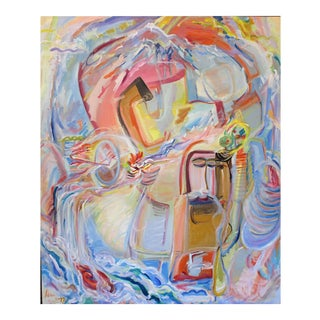 Large Abstract Expressionist Oil Painting by Adine Stix, 1975-1977 For Sale