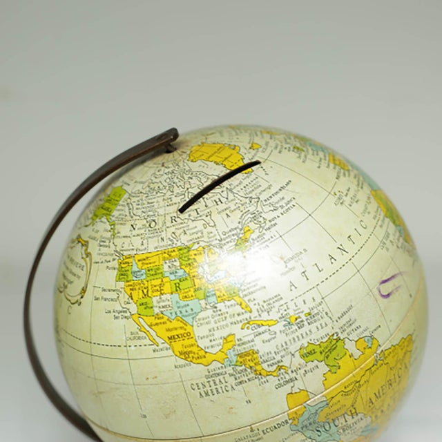 Mid-Century Modern 1970s All Metal Bank/Globe For Sale - Image 3 of 6