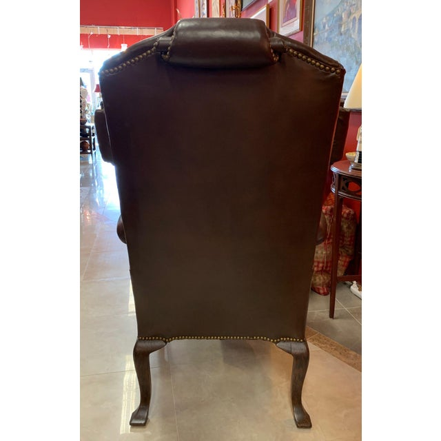 Vintage 18th Century Style Scrolled Wing Chair For Sale - Image 4 of 13
