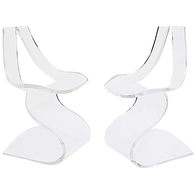 """Boris Tabacoff MMM """"Dumas"""" Lucite Chairs - a Pair For Sale"""