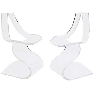 "Moblier Modulaire Moderno ""Dumas"" Lucite Chairs - A Pair"