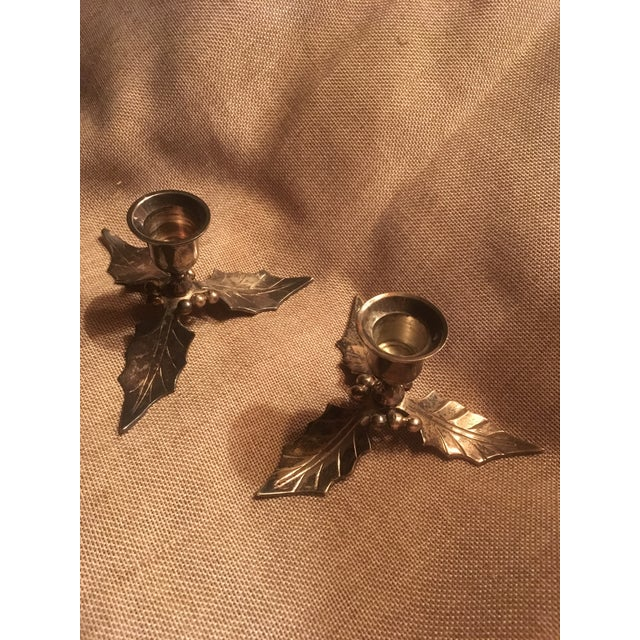 Restoration Hardware Christmas Holiday Holly Candle Holders - a Pair For Sale In Chicago - Image 6 of 6