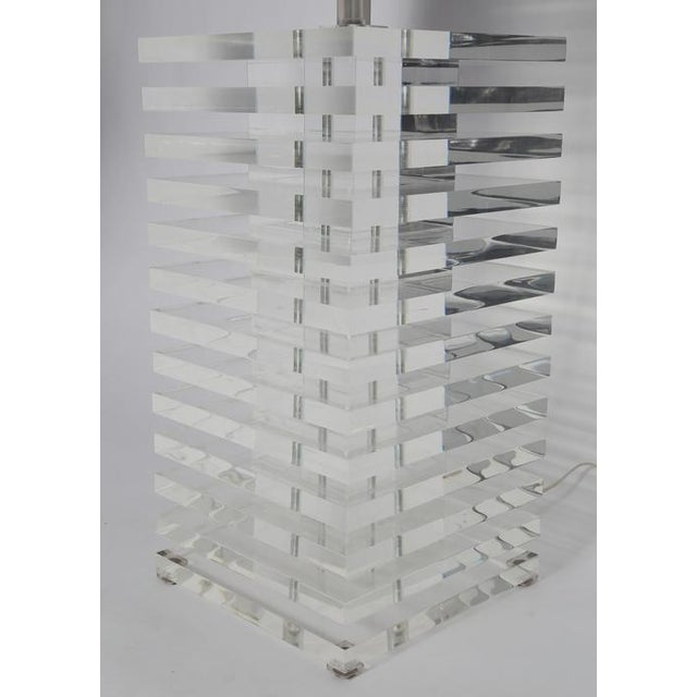 GIANT STACKED-LUCITE TABLE LAMP For Sale - Image 4 of 8
