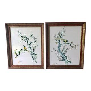 Vintage Asian Watercolor Bird Paintings - a Pair