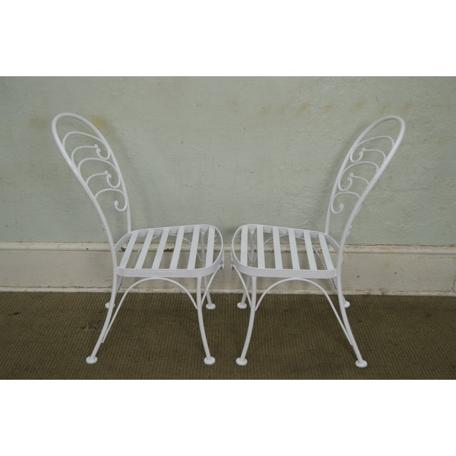 Traditional Woodard Set of 4 White Painted Scrolled Iron Patio Dining Chairs For Sale - Image 3 of 10