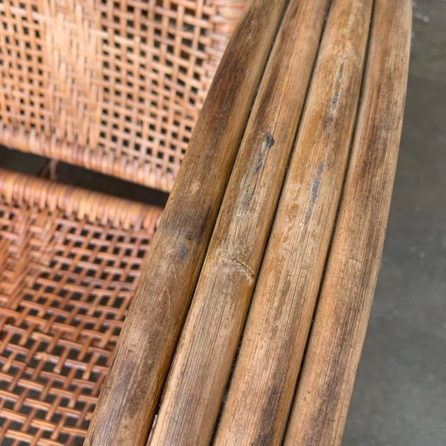 Woven Cane Lounge Chair with Pull Out Foot Rest For Sale - Image 12 of 13