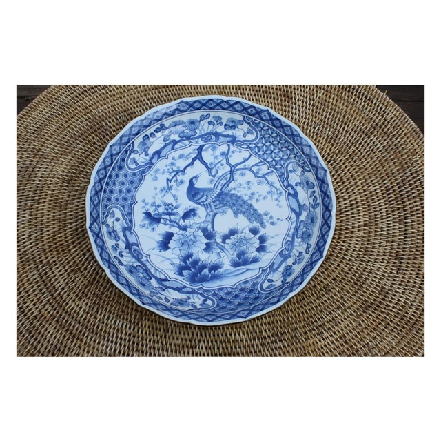 Blue Chinese Blue and White Charger With Scalloped Edges For Sale - Image 8 of 9