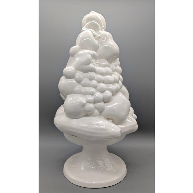 Large 1967 Vintage White Fruit Basket Topiary Centerpiece For Sale - Image 13 of 13