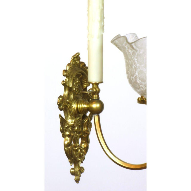 Traditional Pair of Gas and Electric Sconces For Sale - Image 3 of 6