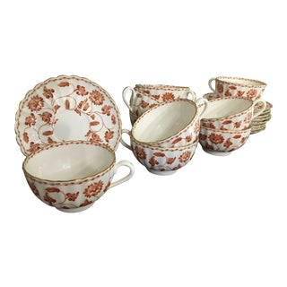 English Spode Red Colonel Tea Coffee Cups & Saucers - Set of 9 For Sale