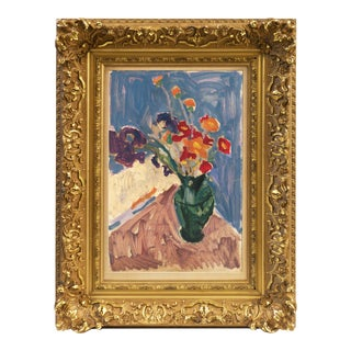 Still Life of Irises and California Poppies' by Victor DI Gesu; Post-Impressionist Oil, Lacma, Sfaa, Paris For Sale