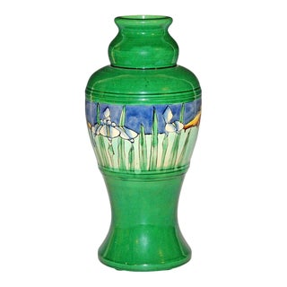 Large Awaji Double Gourd Vase With Ocean Harbor Scene For Sale