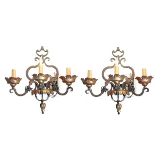 Italian Bronze Sconces Pair For Sale