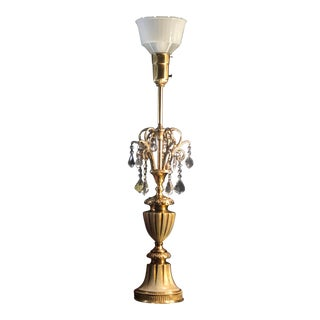 Floor Lamp Brass Crystals With Glass Shade Vintage Torchiere For Sale