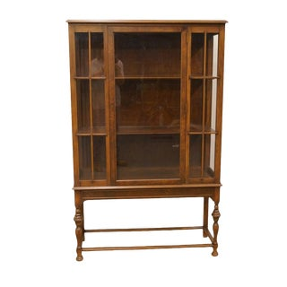 1940's Traditional Walnut Curio Cabinet For Sale