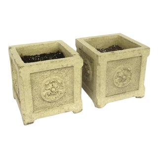 Glazed Terra Cotta Square Planters - a Pair For Sale