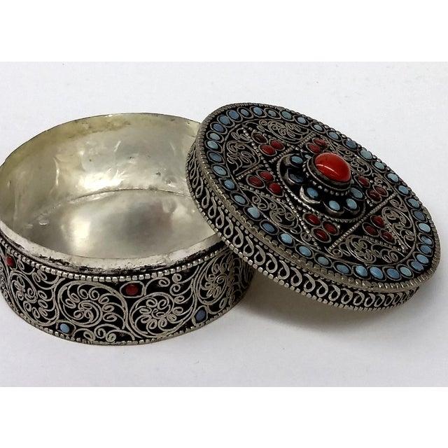 Vintage Tibetan Turquoise Amp Coral Stone Silver Trinket Box