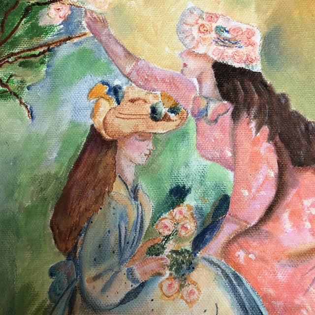 Local artist Lisa Burris acrylic painting of two young Victorian ladies in bonnets picking flowers in a meadow. Painting...