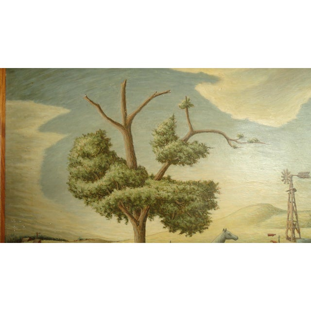 1952 Aaron Pyle Landscape With Horses Regionalist Painting For Sale - Image 9 of 11