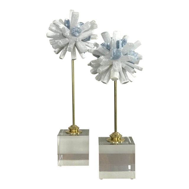 Selenite Sculptures on Glass Cube Stands - a Pair For Sale