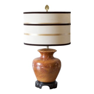 1950s Ginger Jar Amber Ceramic Asian Style Lamp With Striped Shade For Sale