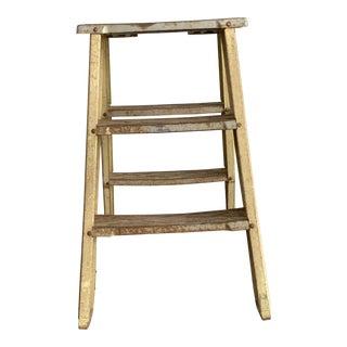 1940s Vintage Industrial Metal Step Ladder For Sale