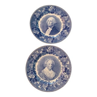 English Wedgwood Blue & White Plates - a Pair For Sale