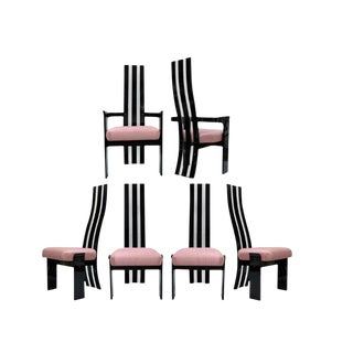 Mid Century Modern Hill Mfg Black Clear Lucite Sculptural Dining Chairs- Set of 6 For Sale