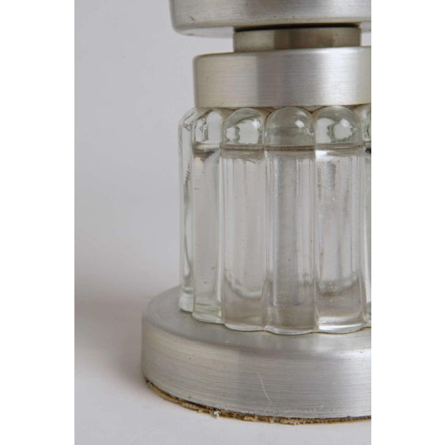 Machine Age Russel Wright Style Art Deco Spun Aluminum and Glass Lamp For Sale - Image 9 of 11
